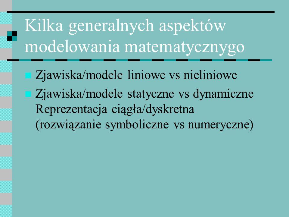 Kilka generalnych aspektów modelowania matematycznygo