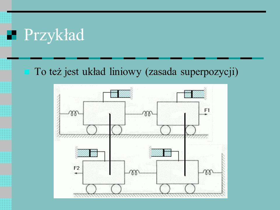 Przykład To też jest układ liniowy (zasada superpozycji)