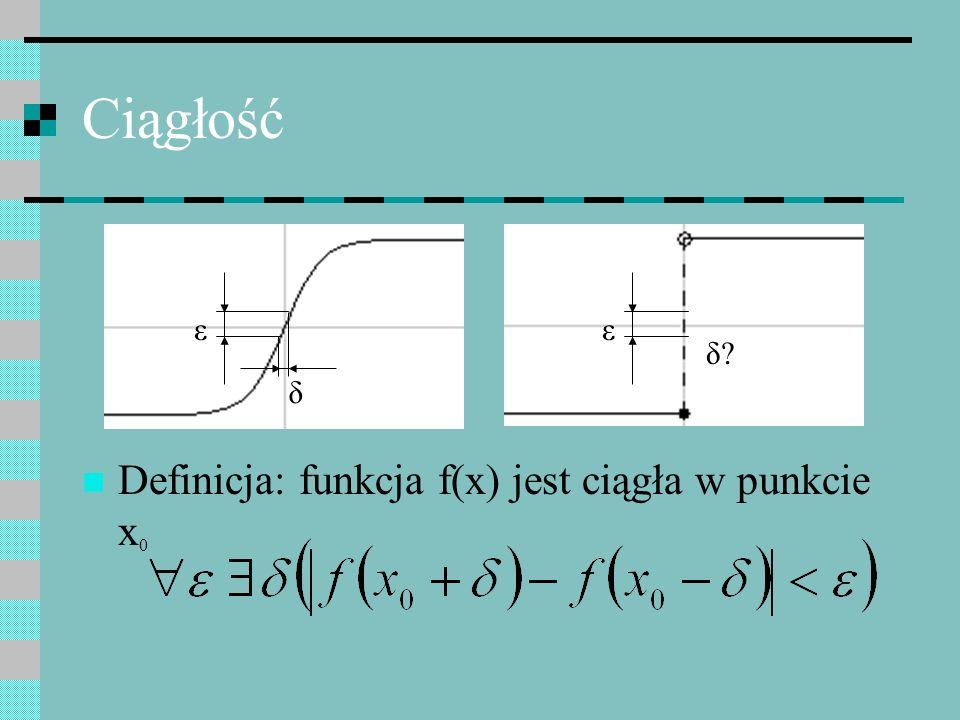 Ciągłość ε ε δ δ Definicja: funkcja f(x) jest ciągła w punkcie x0