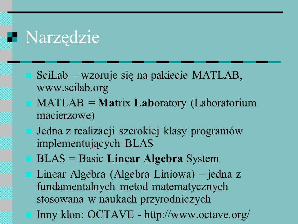 Narzędzie SciLab – wzoruje się na pakiecie MATLAB, www.scilab.org