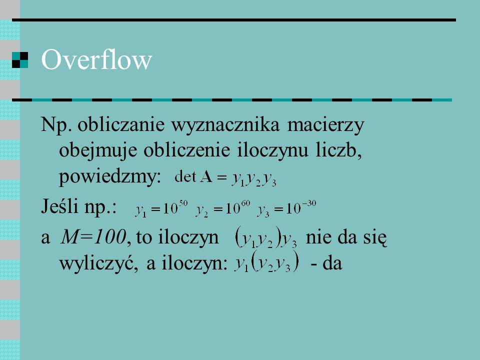 Overflow Np. obliczanie wyznacznika macierzy obejmuje obliczenie iloczynu liczb, powiedzmy: Jeśli np.:
