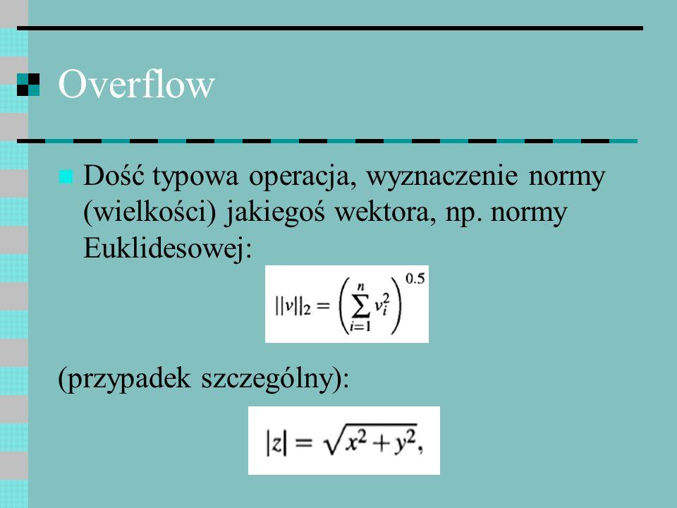 OverflowDość typowa operacja, wyznaczenie normy (wielkości) jakiegoś wektora, np. normy Euklidesowej:
