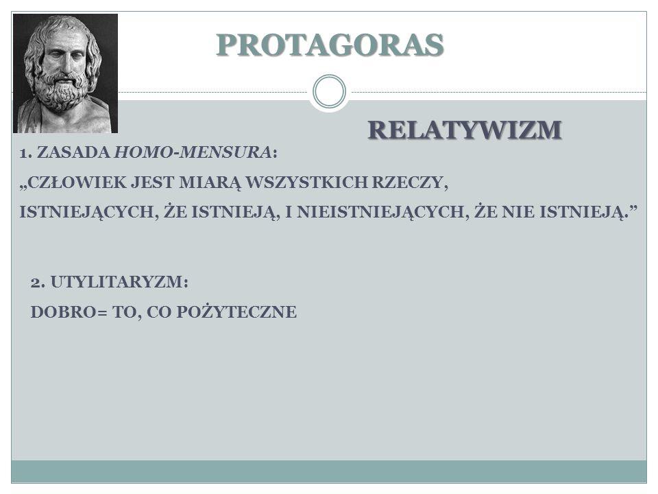 PROTAGORAS RELATYWIZM 1. ZASADA HOMO-MENSURA: