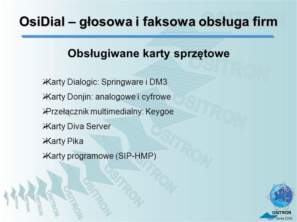 OsiDial – głosowa i faksowa obsługa firm Obsługiwane karty sprzętowe