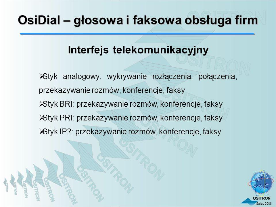 OsiDial – głosowa i faksowa obsługa firm Interfejs telekomunikacyjny