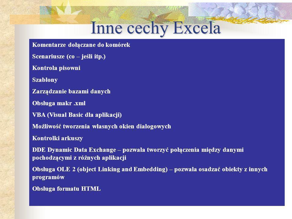 Inne cechy Excela Komentarze dołączane do komórek