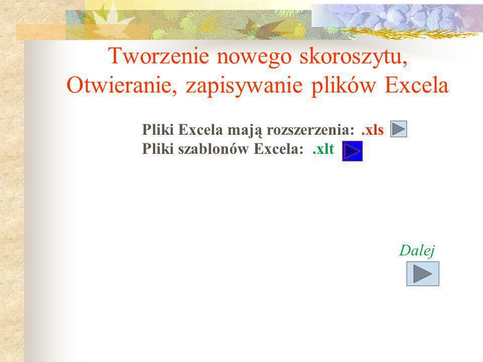 Tworzenie nowego skoroszytu, Otwieranie, zapisywanie plików Excela