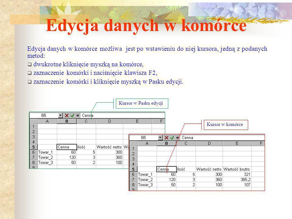 Edycja danych w komórce