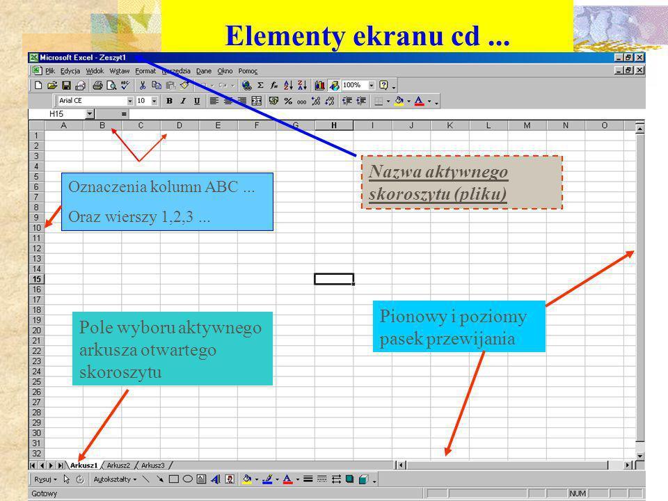 Elementy ekranu cd ... Nazwa aktywnego skoroszytu (pliku)