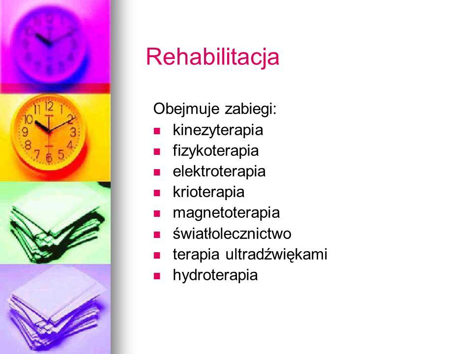 Rehabilitacja Obejmuje zabiegi: kinezyterapia fizykoterapia