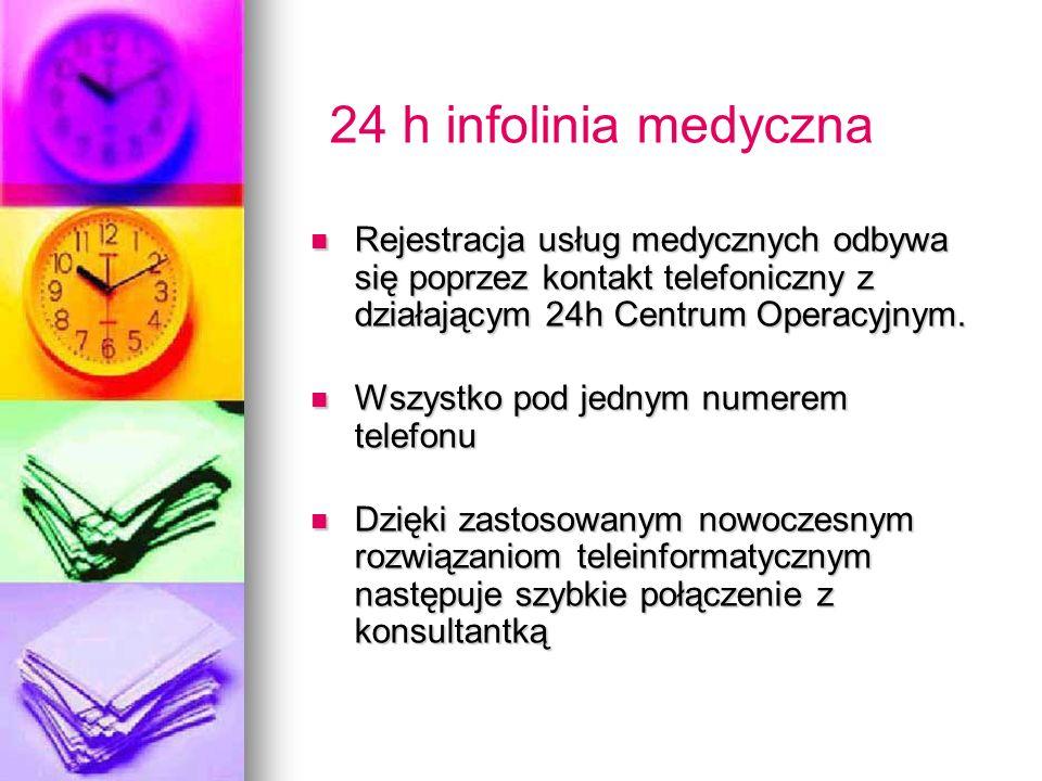 24 h infolinia medyczna Rejestracja usług medycznych odbywa się poprzez kontakt telefoniczny z działającym 24h Centrum Operacyjnym.