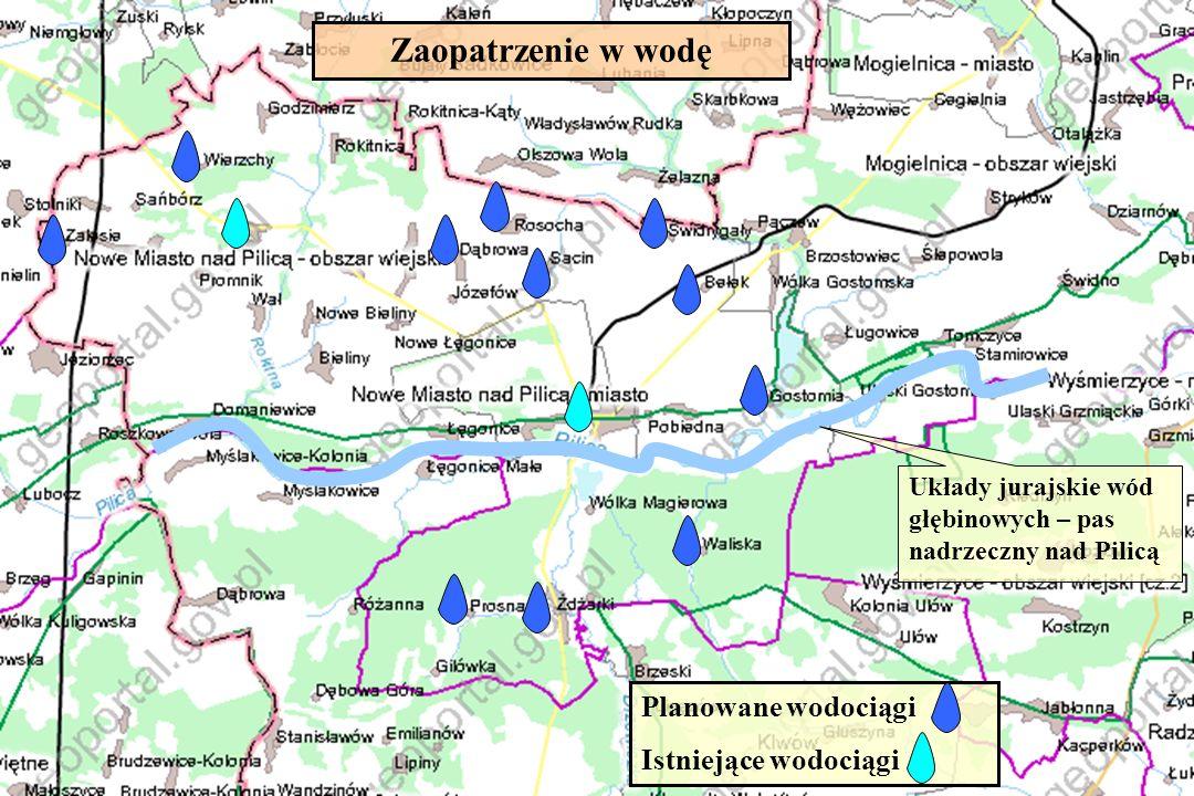 Zaopatrzenie w wodę Planowane wodociągi Istniejące wodociągi