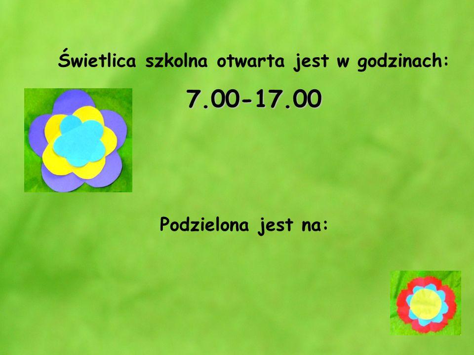Świetlica szkolna otwarta jest w godzinach: 7.00-17.00