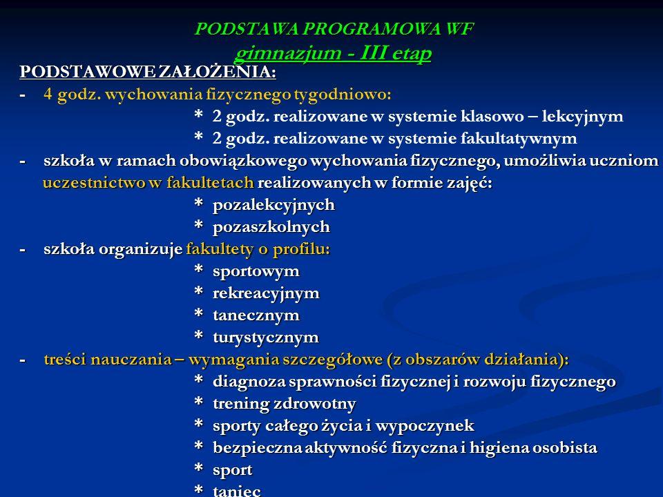 PODSTAWA PROGRAMOWA WF gimnazjum - III etap