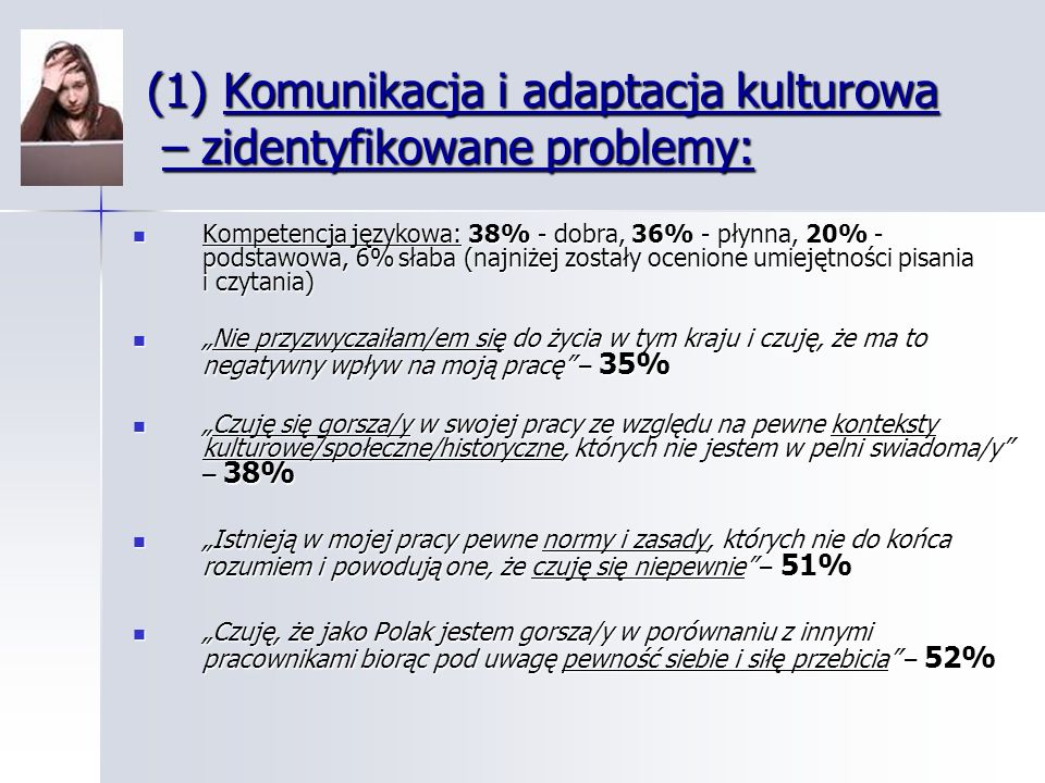 (1) Komunikacja i adaptacja kulturowa – zidentyfikowane problemy: