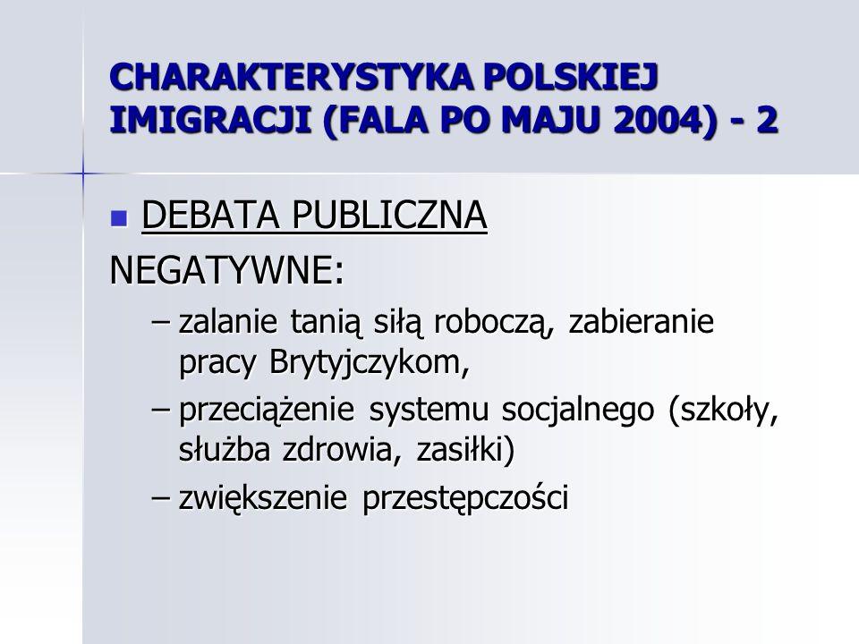 CHARAKTERYSTYKA POLSKIEJ IMIGRACJI (FALA PO MAJU 2004) - 2