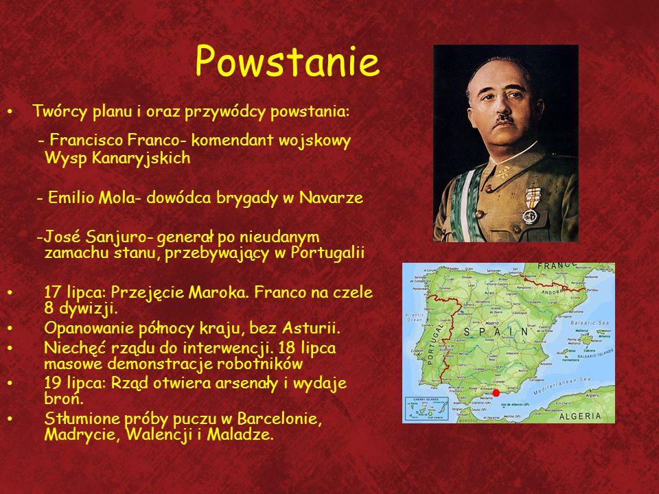 Powstanie - Francisco Franco- komendant wojskowy Wysp Kanaryjskich