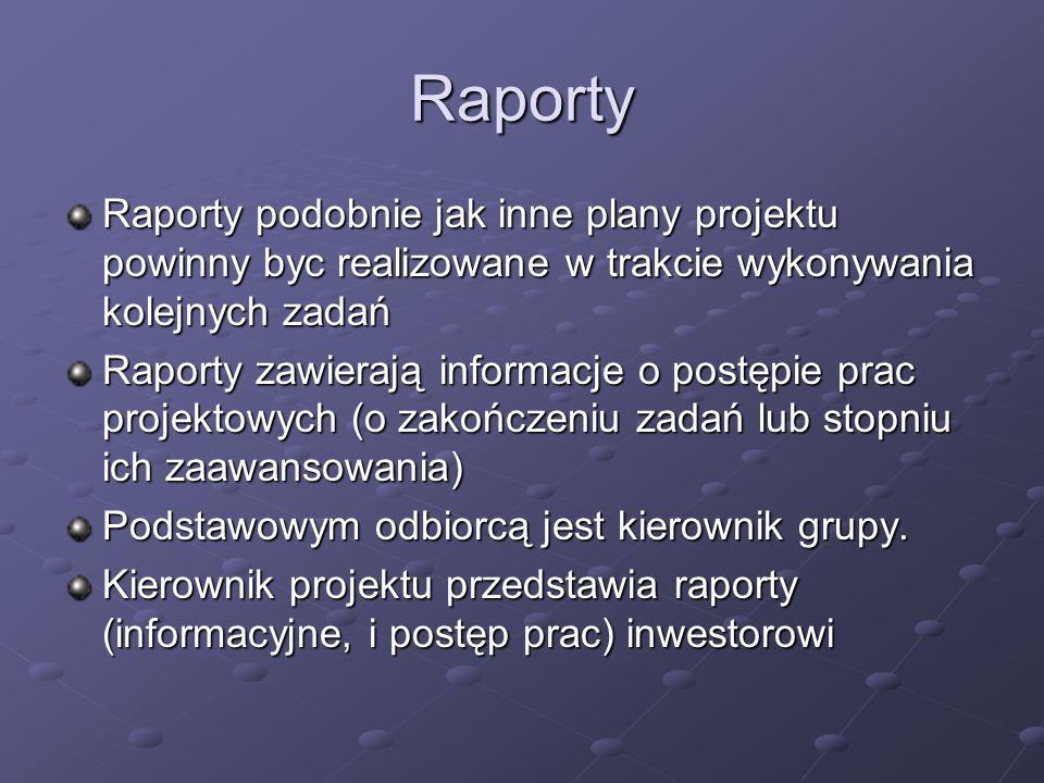 Raporty Raporty podobnie jak inne plany projektu powinny byc realizowane w trakcie wykonywania kolejnych zadań.