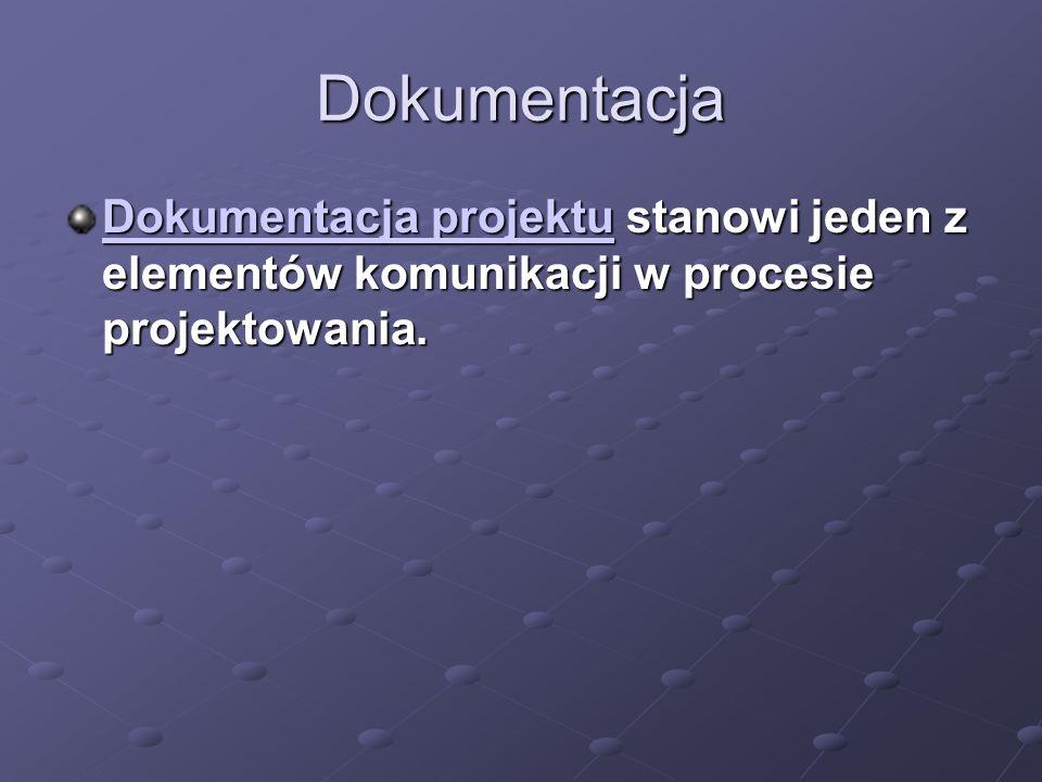 Dokumentacja Dokumentacja projektu stanowi jeden z elementów komunikacji w procesie projektowania.