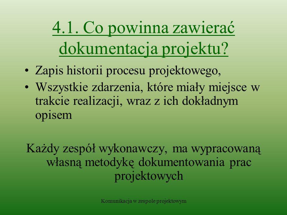 4.1. Co powinna zawierać dokumentacja projektu