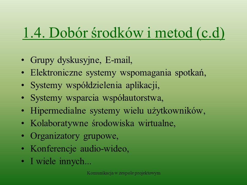 1.4. Dobór środków i metod (c.d)