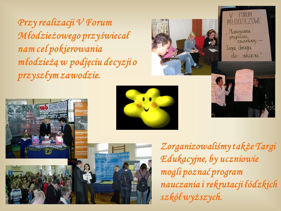 Przy realizacji V Forum Młodzieżowego przyświecał nam cel pokierowania młodzieżą w podjęciu decyzji o przyszłym zawodzie.