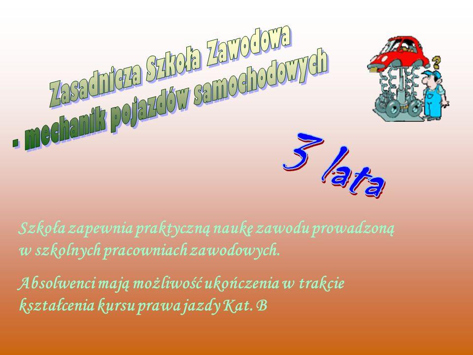 Zasadnicza Szkoła Zawodowa - mechanik pojazdów samochodowych