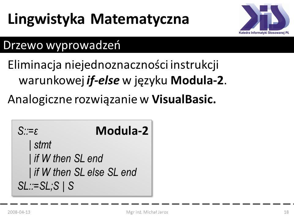 Drzewo wyprowadzeń Eliminacja niejednoznaczności instrukcji warunkowej if-else w języku Modula-2. Analogiczne rozwiązanie w VisualBasic.