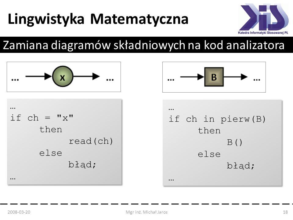 Zamiana diagramów składniowych na kod analizatora