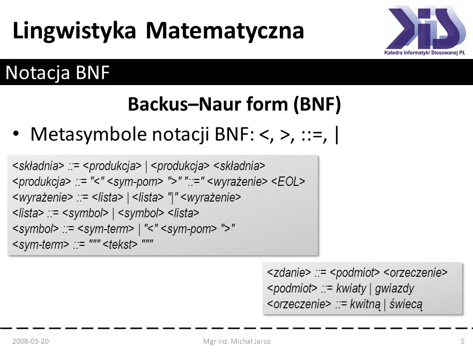 Backus–Naur form (BNF)