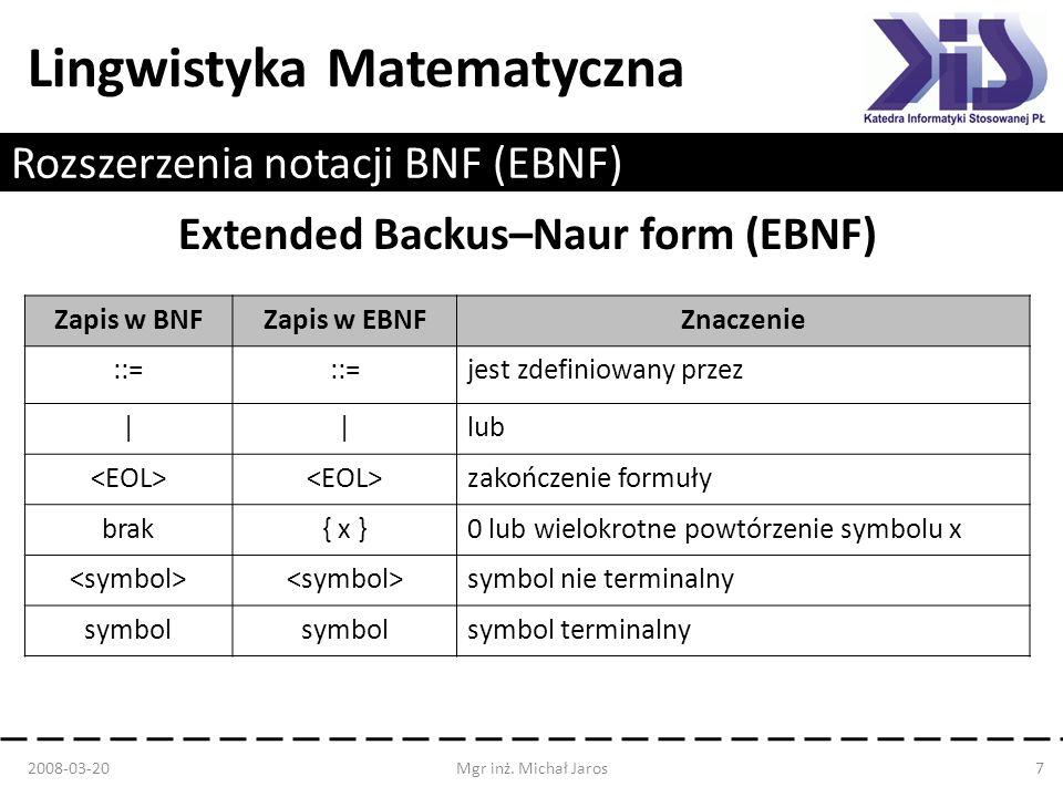 Rozszerzenia notacji BNF (EBNF)