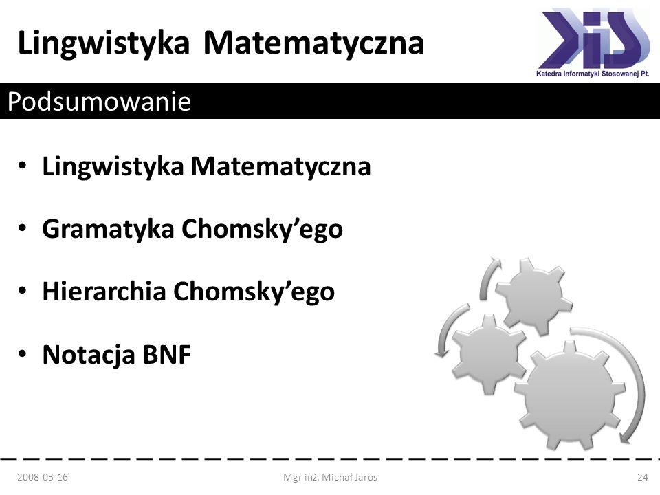 Lingwistyka Matematyczna Gramatyka Chomsky'ego Hierarchia Chomsky'ego