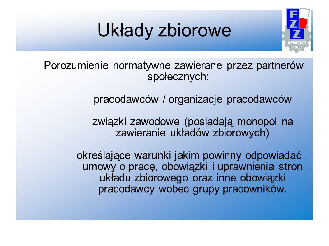 Układy zbiorowe Porozumienie normatywne zawierane przez partnerów społecznych: pracodawców / organizacje pracodawców.