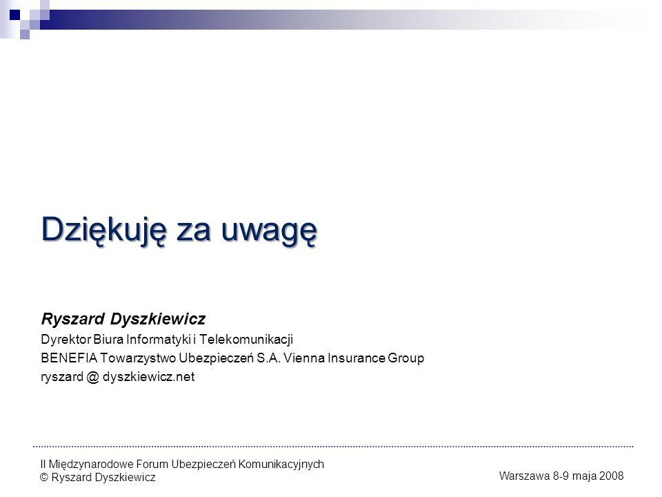 Dziękuję za uwagę Ryszard Dyszkiewicz
