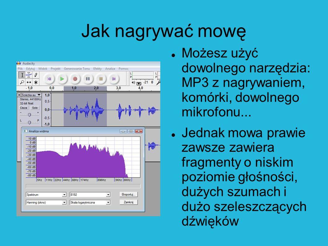 Jak nagrywać mowę Możesz użyć dowolnego narzędzia: MP3 z nagrywaniem, komórki, dowolnego mikrofonu...