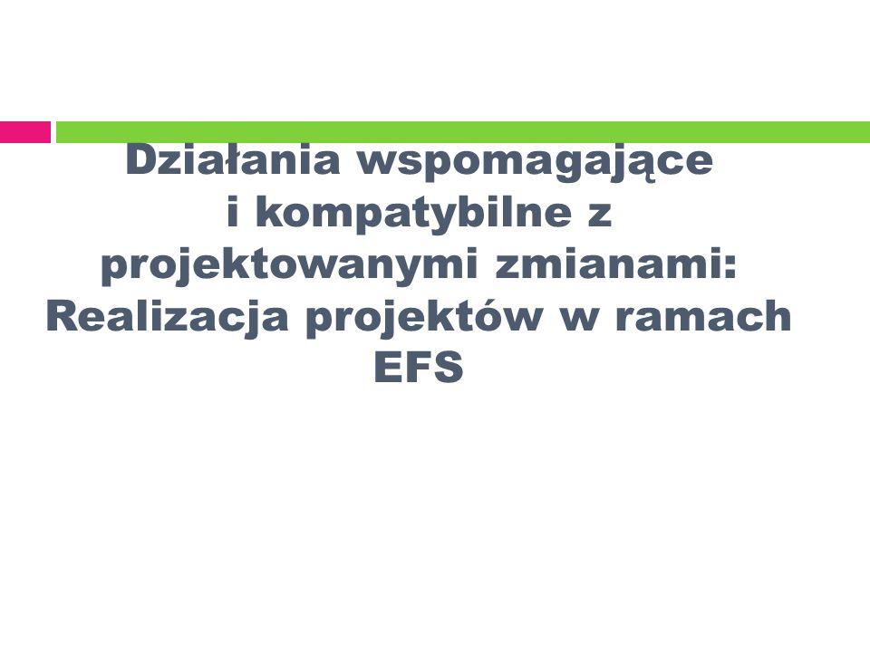 Działania wspomagające i kompatybilne z projektowanymi zmianami: Realizacja projektów w ramach EFS