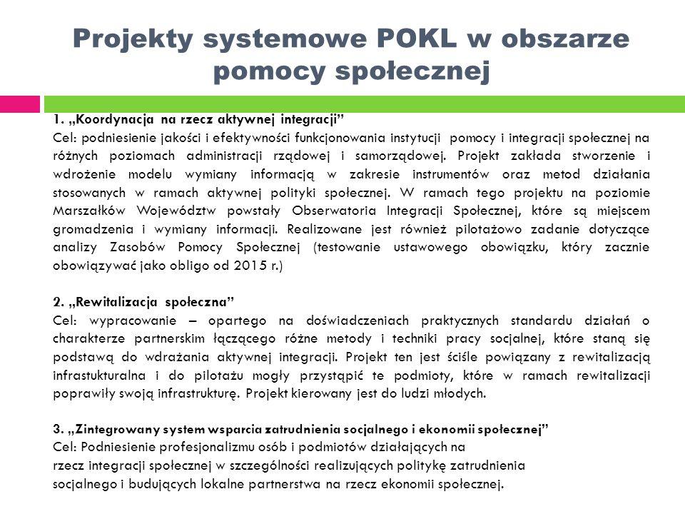 Projekty systemowe POKL w obszarze pomocy społecznej