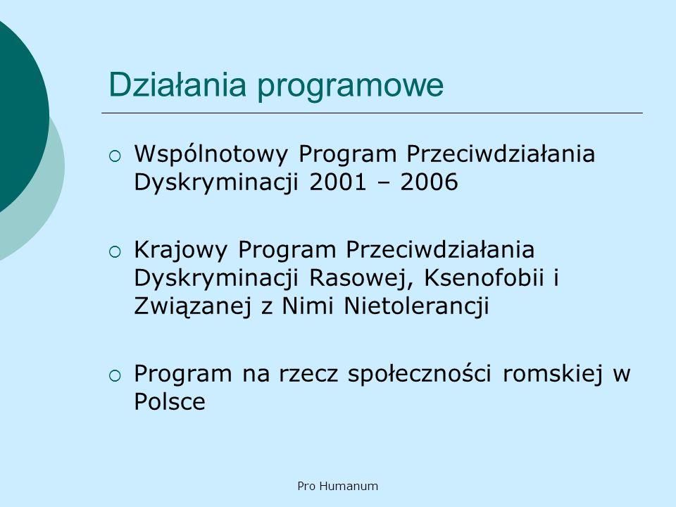Działania programowe Wspólnotowy Program Przeciwdziałania Dyskryminacji 2001 – 2006.
