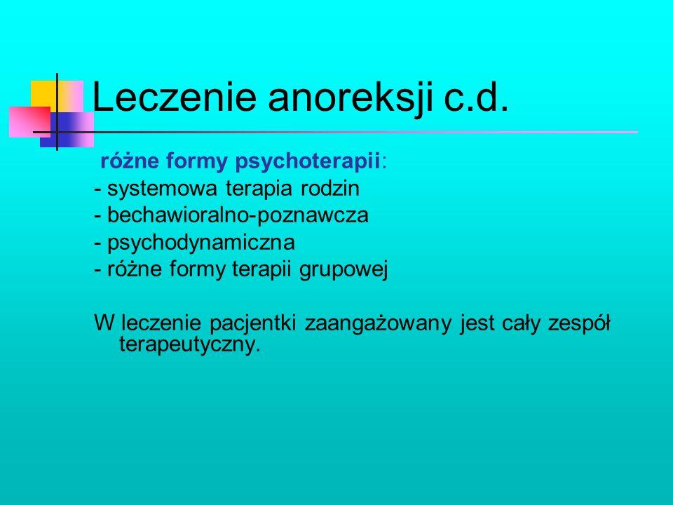 Leczenie anoreksji c.d. różne formy psychoterapii: