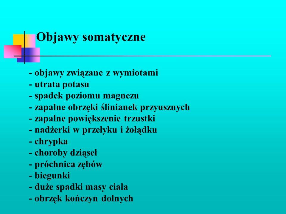 Objawy somatyczne - objawy związane z wymiotami - utrata potasu