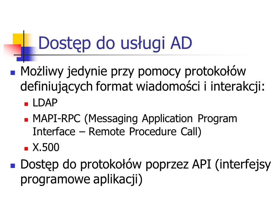 Dostęp do usługi AD Możliwy jedynie przy pomocy protokołów definiujących format wiadomości i interakcji: