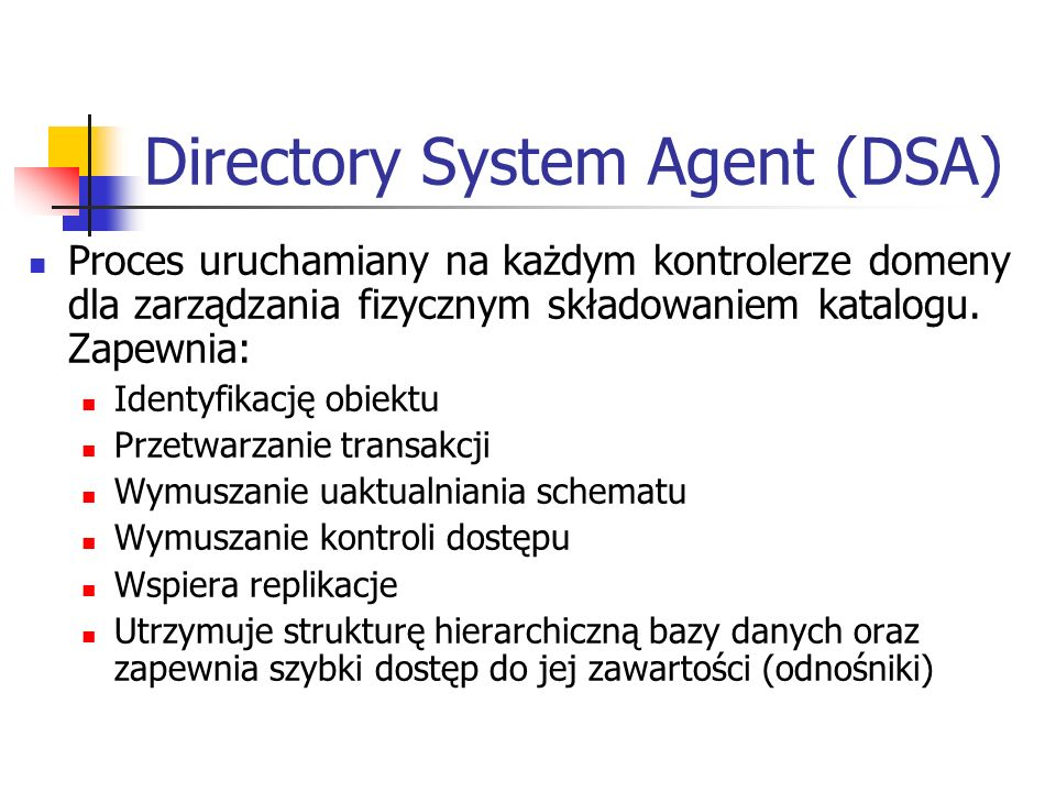 Directory System Agent (DSA)