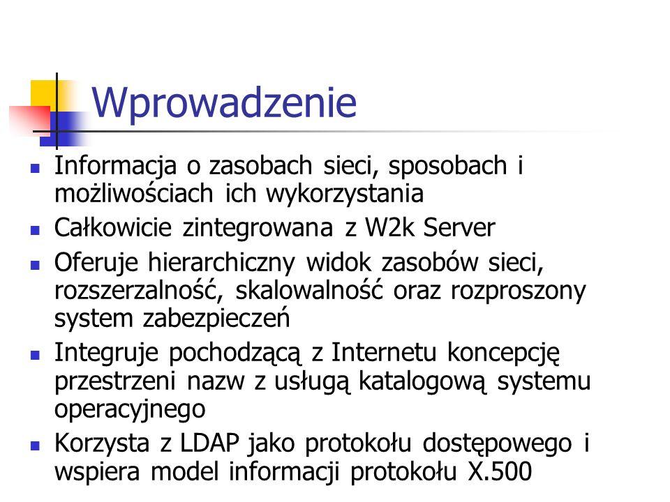 Wprowadzenie Informacja o zasobach sieci, sposobach i możliwościach ich wykorzystania. Całkowicie zintegrowana z W2k Server.