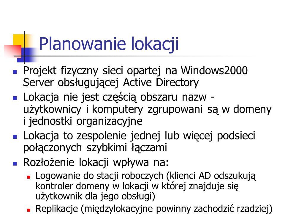 Planowanie lokacji Projekt fizyczny sieci opartej na Windows2000 Server obsługującej Active Directory.