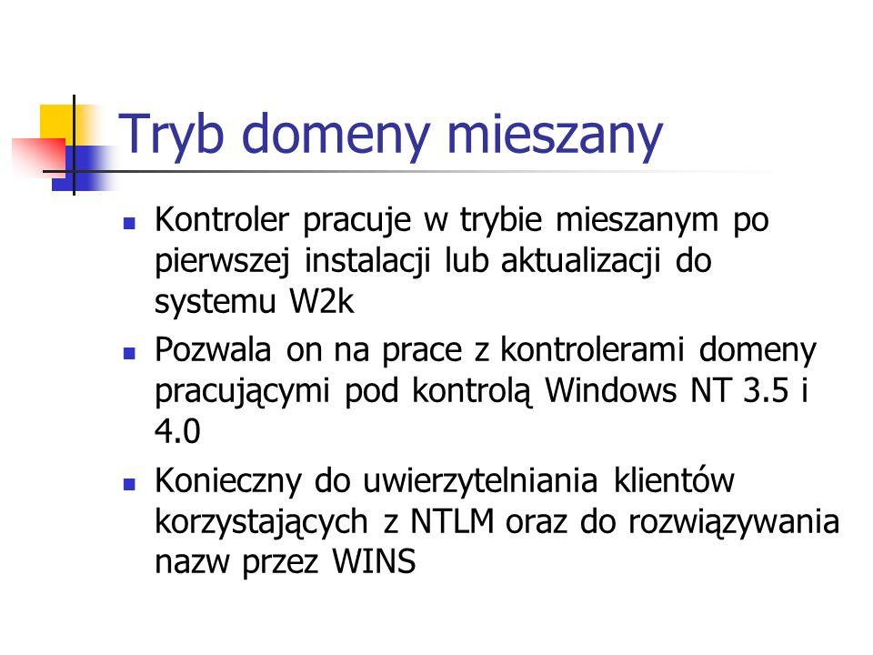 Tryb domeny mieszany Kontroler pracuje w trybie mieszanym po pierwszej instalacji lub aktualizacji do systemu W2k.