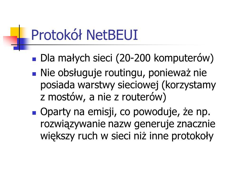 Protokół NetBEUI Dla małych sieci (20-200 komputerów)