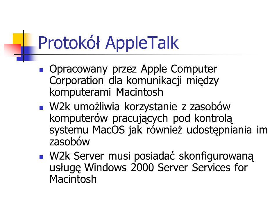 Protokół AppleTalkOpracowany przez Apple Computer Corporation dla komunikacji między komputerami Macintosh.