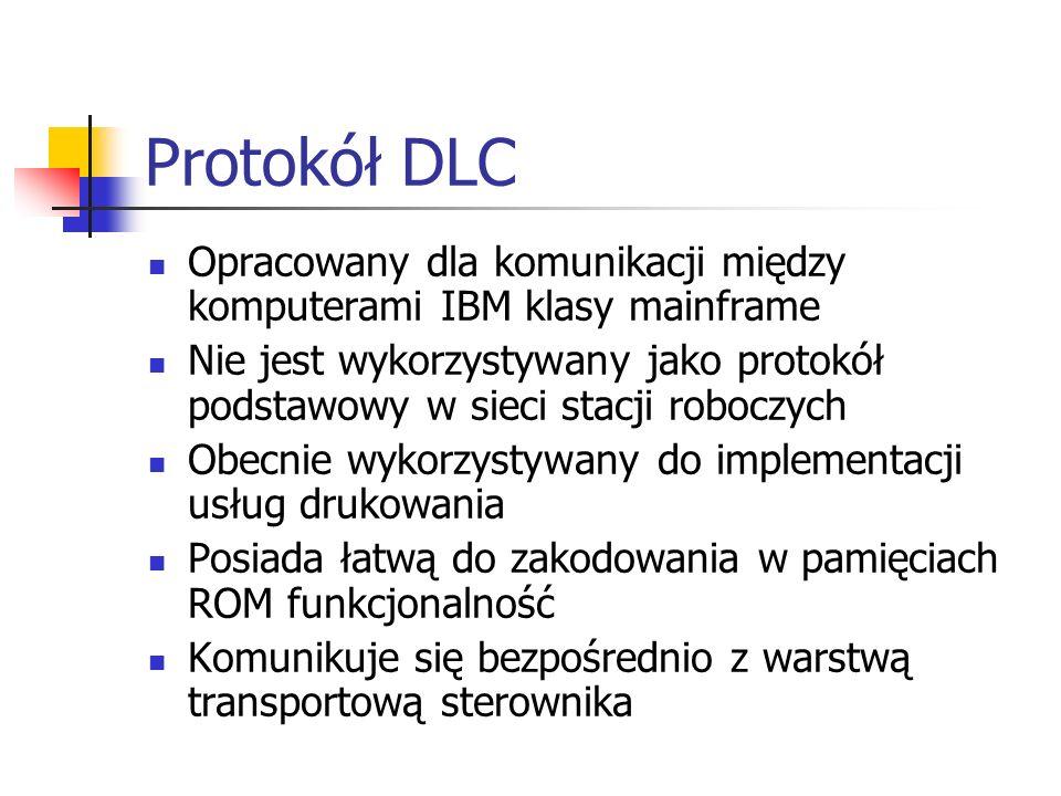Protokół DLC Opracowany dla komunikacji między komputerami IBM klasy mainframe.