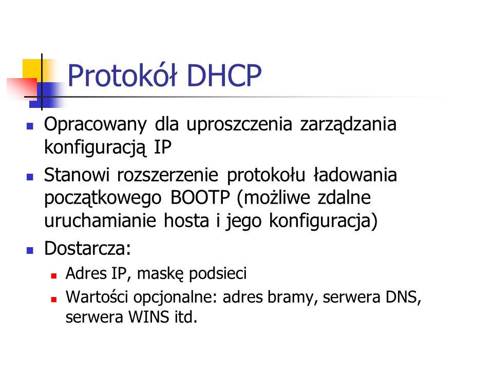 Protokół DHCP Opracowany dla uproszczenia zarządzania konfiguracją IP