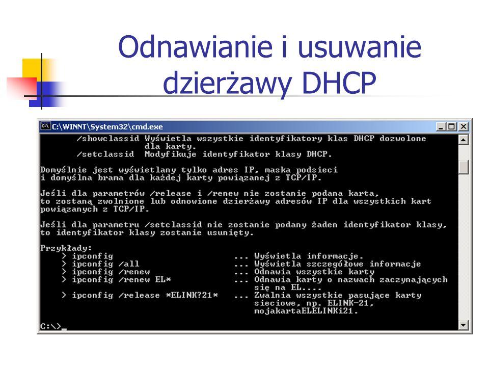 Odnawianie i usuwanie dzierżawy DHCP